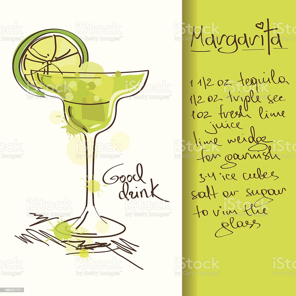 Illustration with Margarita cocktail vector art illustration