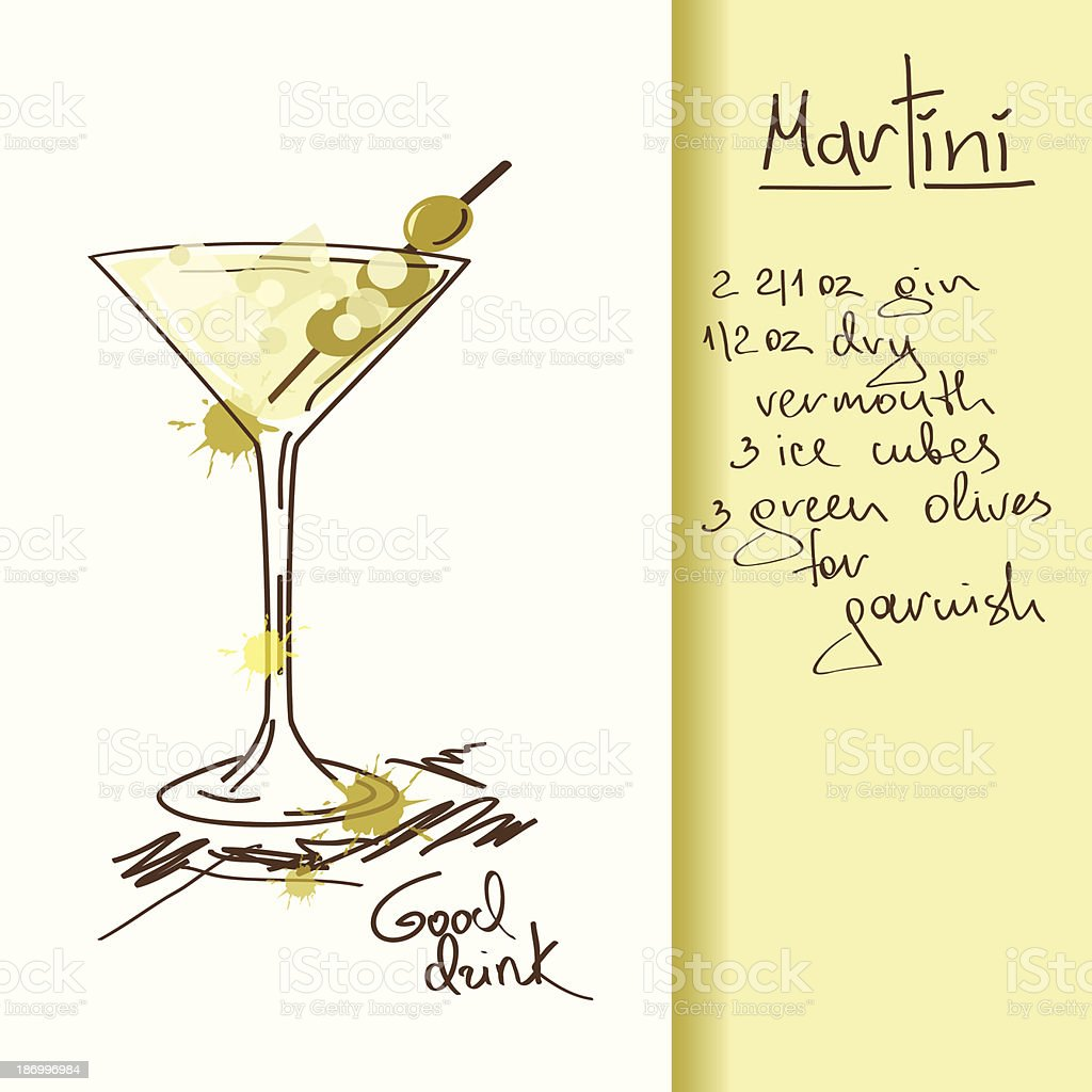 Illustration with Martini cocktail vector art illustration