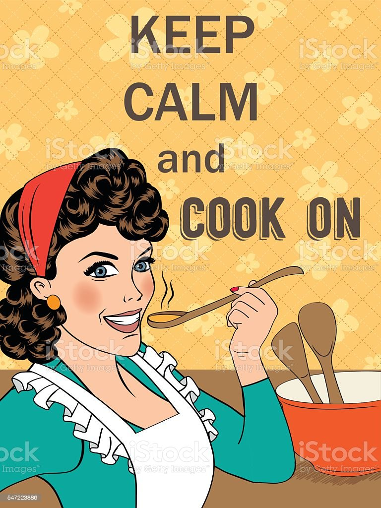 Illustration with massage'Keep calm and cook on' vector art illustration