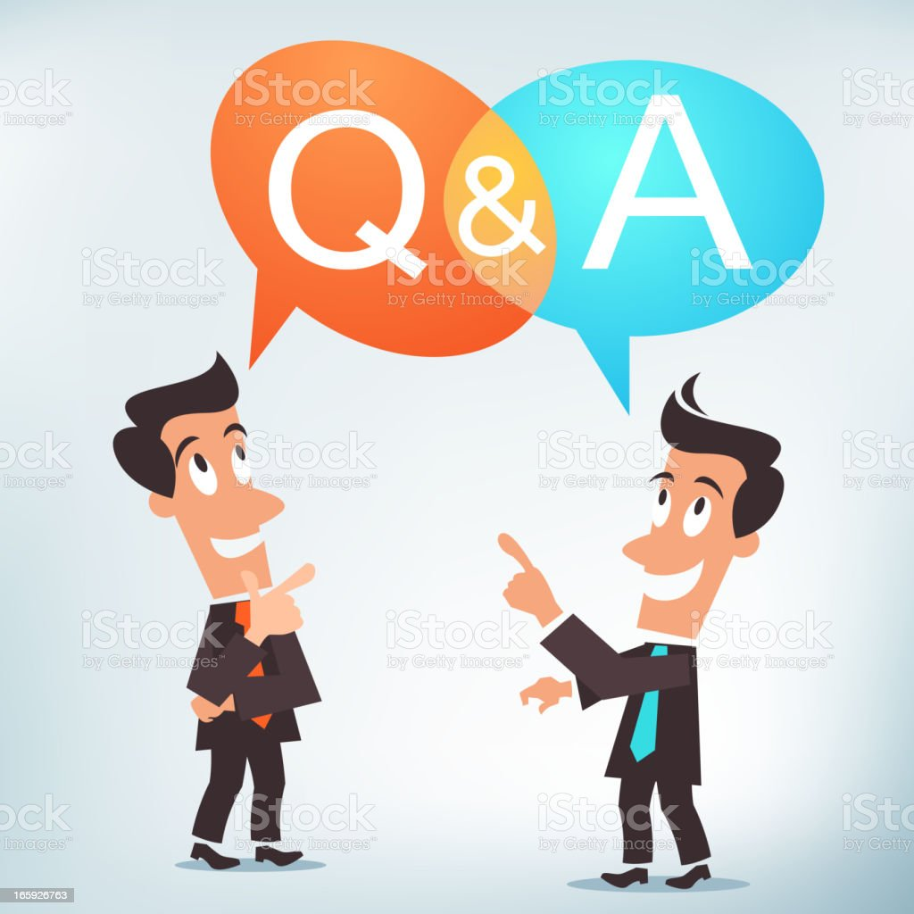 Illustration with men questioning and answering  vector art illustration