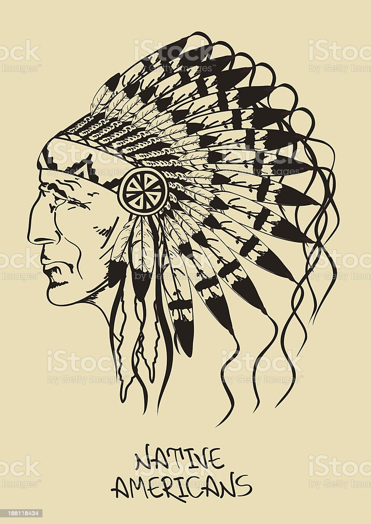 Illustration with Native American Indian chief vector art illustration