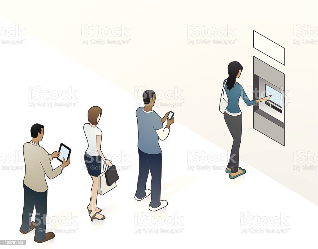 ATM Illustration with People vector art illustration