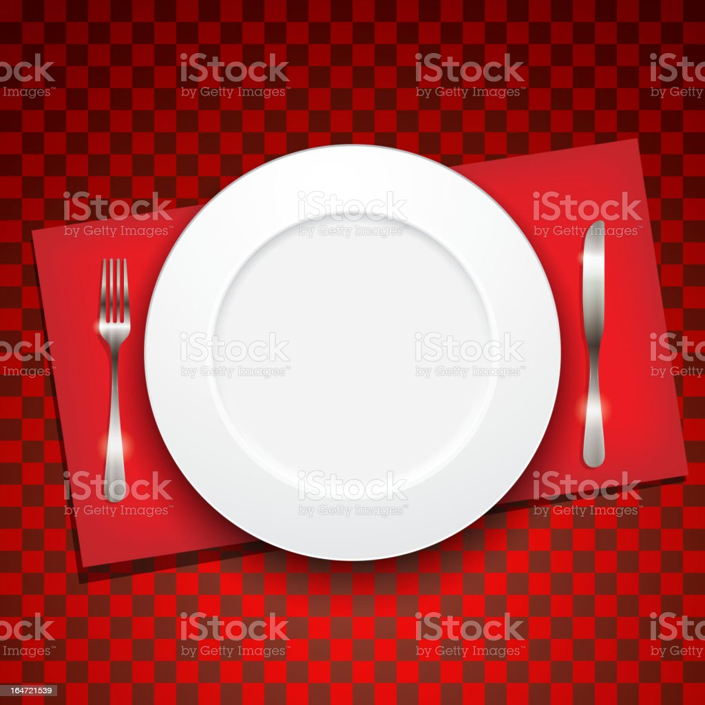 illustration with plate, fork and knife royalty-free stock vector art