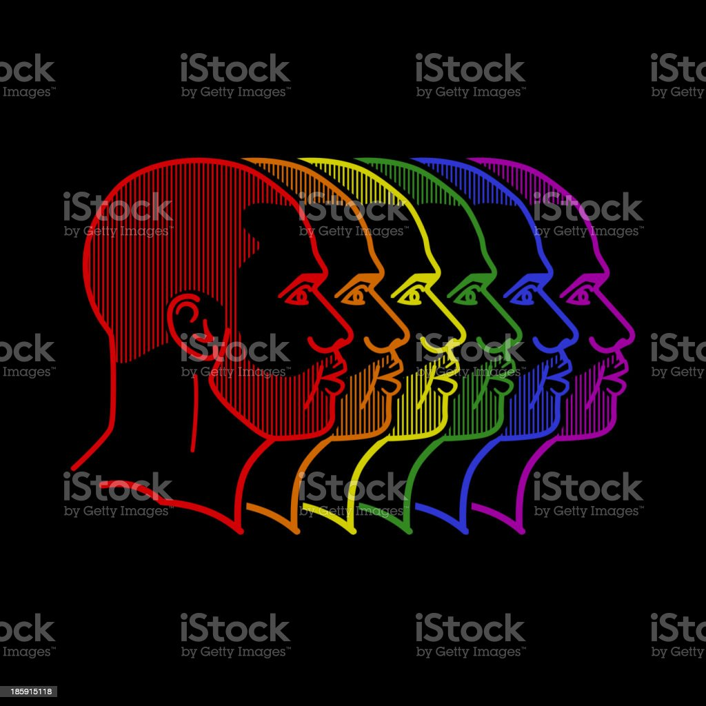 illustration with rainbow male faces royalty-free stock vector art