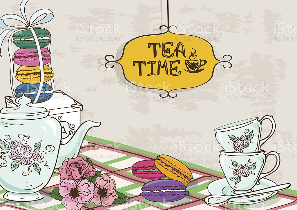 Illustration with still life of tea set and French macaroons vector art illustration