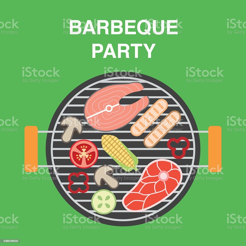 BBQ illustration with top view of brazier vector art illustration