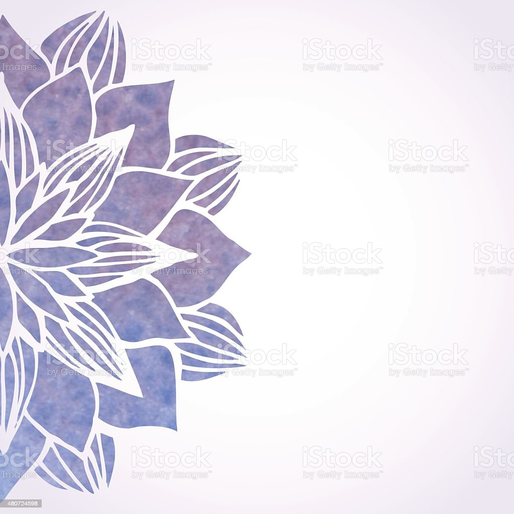 Illustration with watercolor violet floral pattern vector art illustration