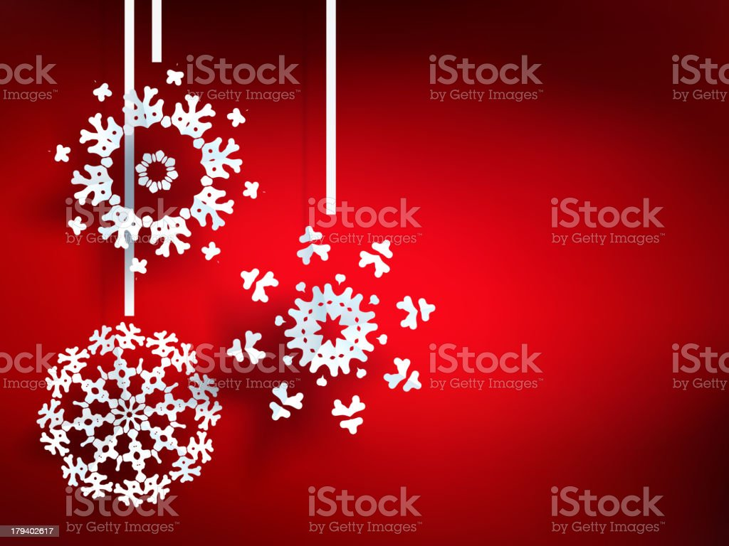 Illustration with white snowflakes on red royalty-free stock vector art