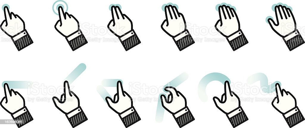 Illustrations indicating multitouch gestures vector art illustration