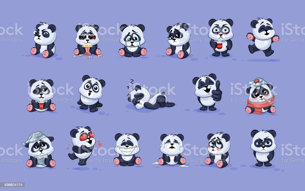 Illustrations isolated Emoji character cartoon Panda stickers emoticons with different vector art illustration