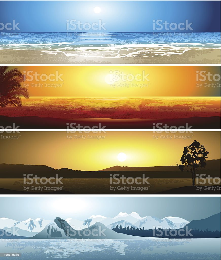 Illustrations of 4 geographical locations vector art illustration