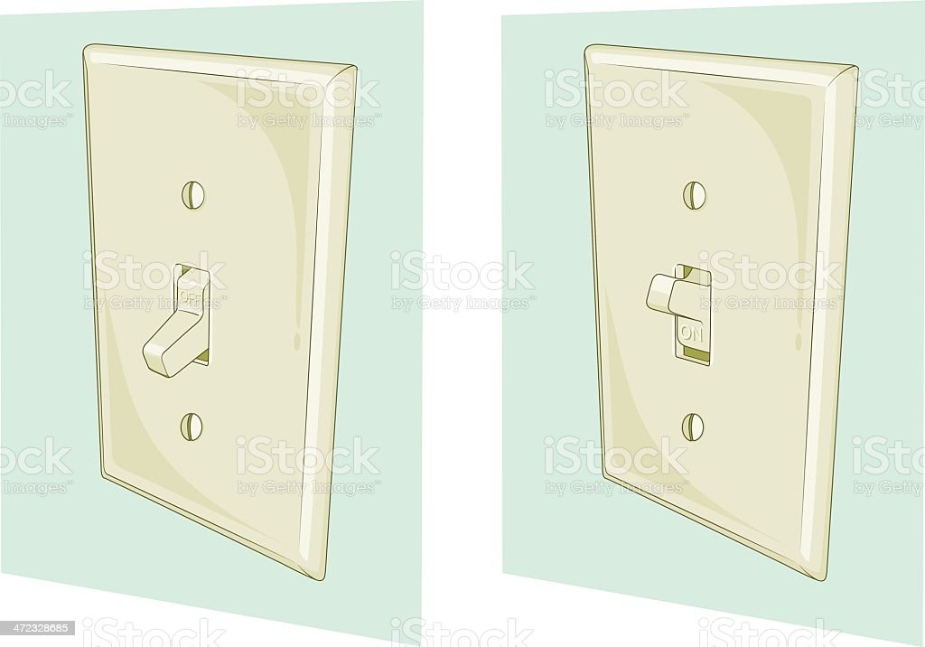2 illustrations of a light switch at the on and off position royalty-free stock vector art
