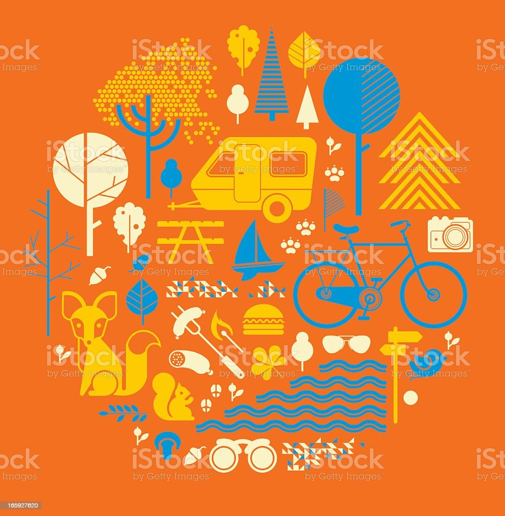 Illustrations of countryside items and activities on orange royalty-free stock vector art