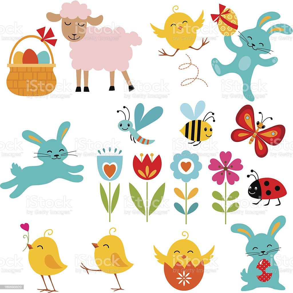 Illustrations of Easter themed cartoon elements vector art illustration