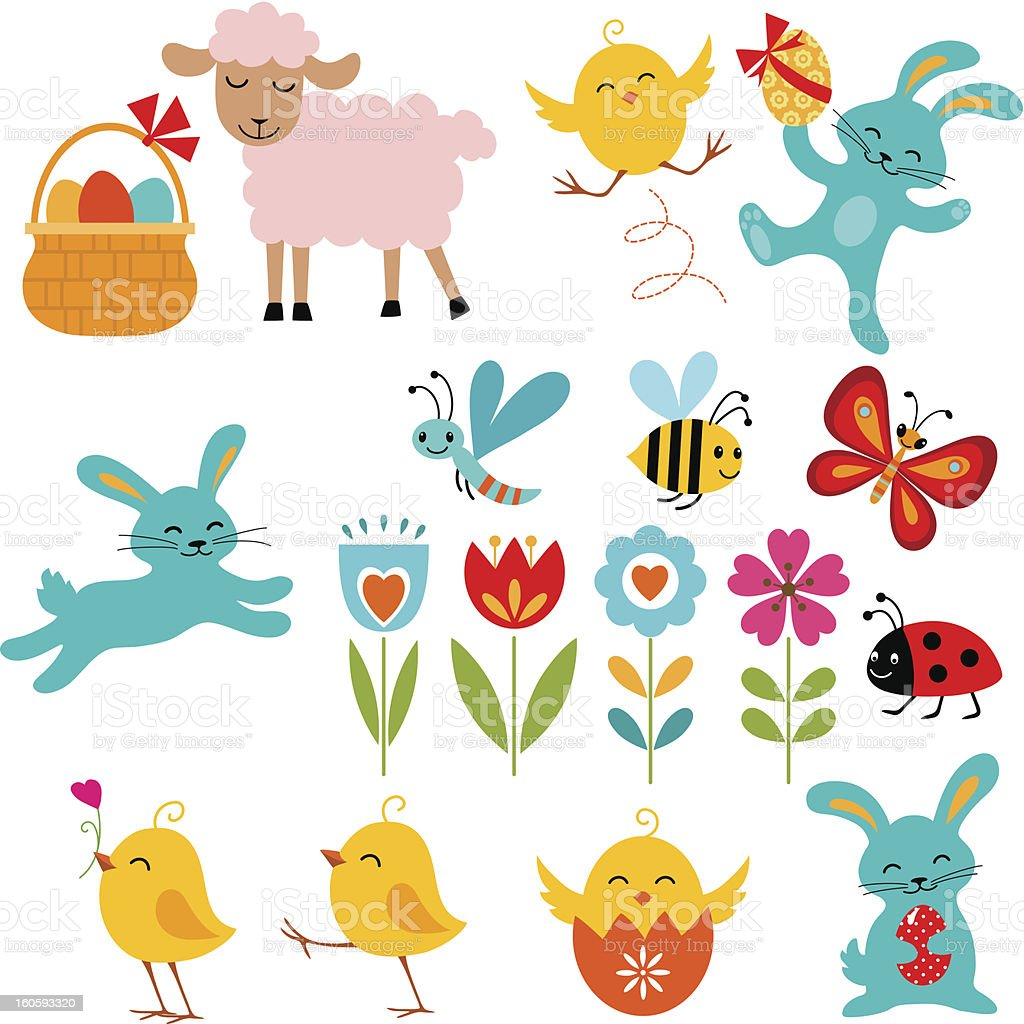Illustrations of Easter themed cartoon elements vector art illustration