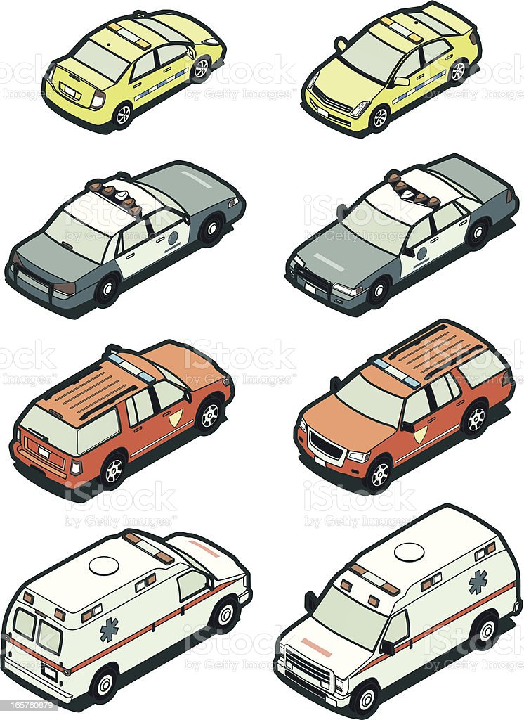 Illustrations of emergency vehicles in two sides vector art illustration