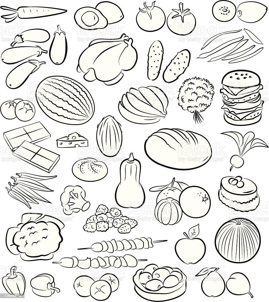 Illustrations of food in black and white royalty-free stock vector art