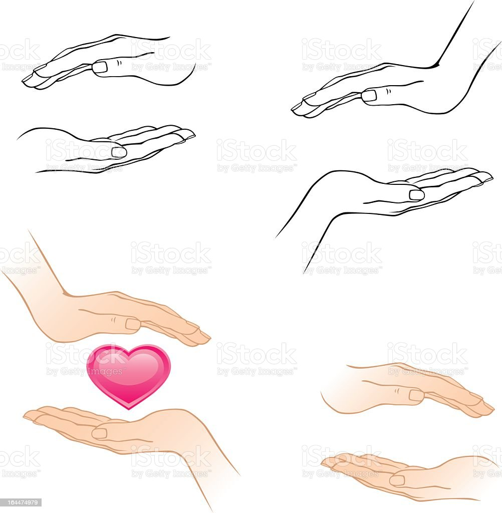 Illustrations of hands and a heart vector art illustration