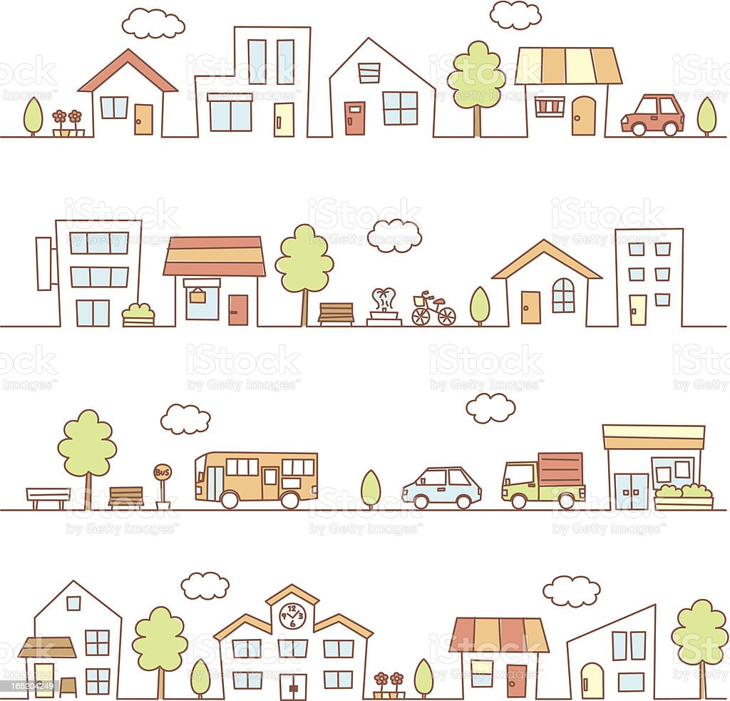 Illustrations of houses on a street royalty-free stock vector art