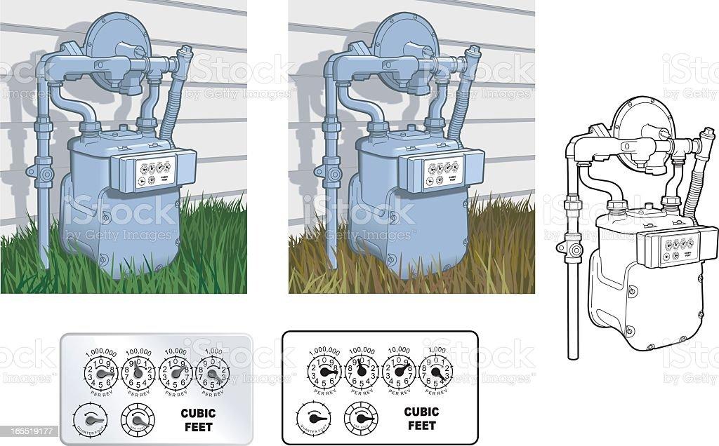 Illustrations of natural gas meter vector art illustration
