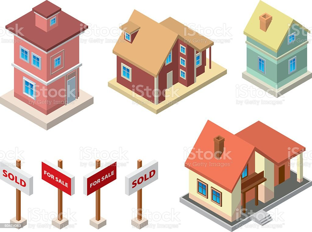 Illustrations of real estate including houses and signs vector art illustration