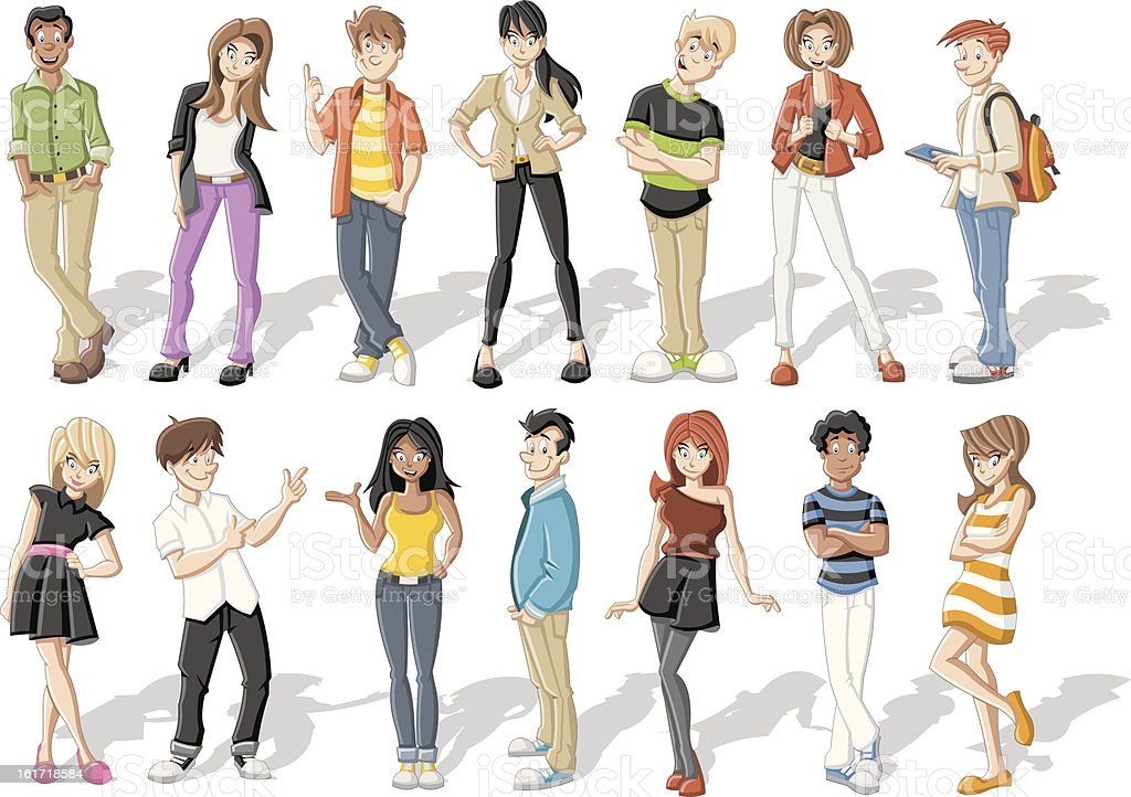 Illustrations of rows of young trendy people royalty-free stock vector art