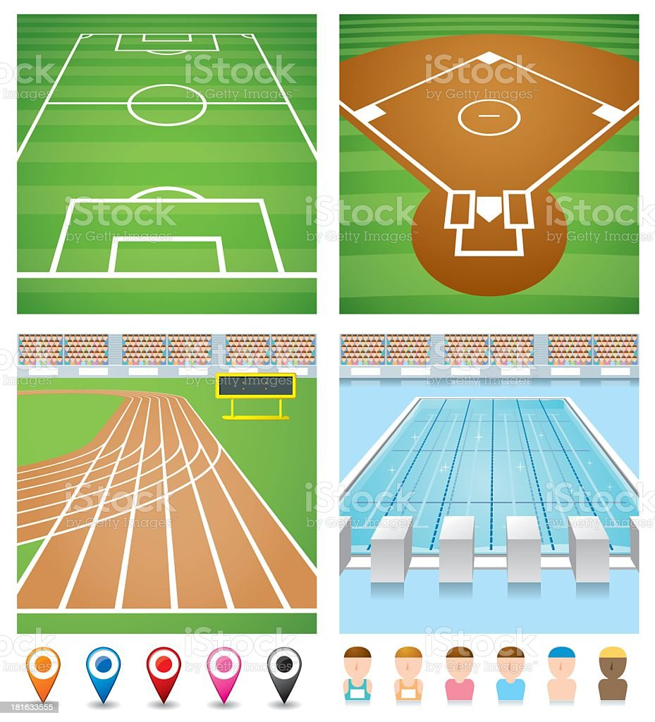Illustrations of sport fields, track, pool and avatars vector art illustration