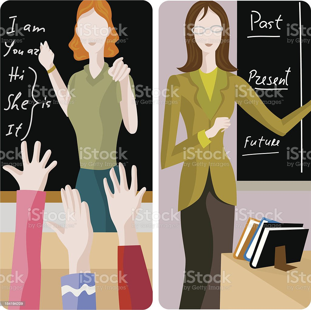Illustrations of two teachers in a classroom setting vector art illustration