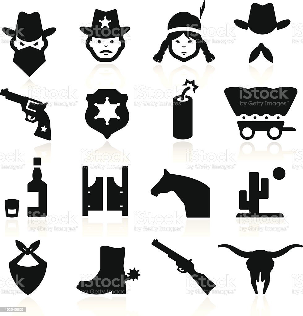Illustrations of various cowboy and western icons vector art illustration