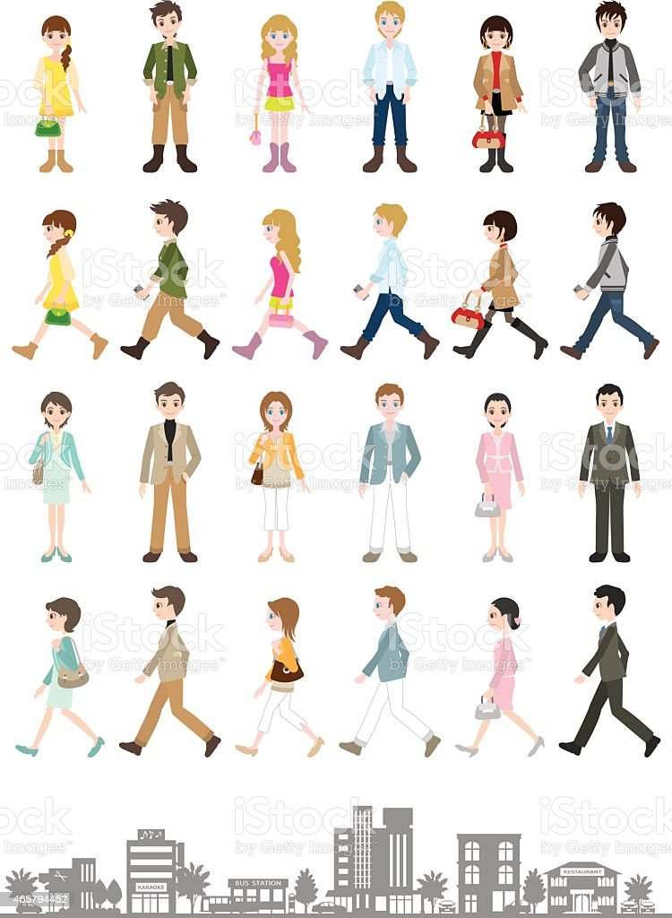 Illustrations of various people / Young people vector art illustration