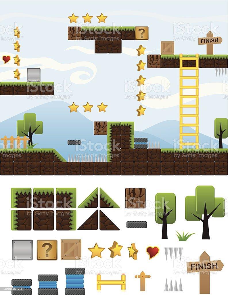 Illustrations Platform for Game vector art illustration