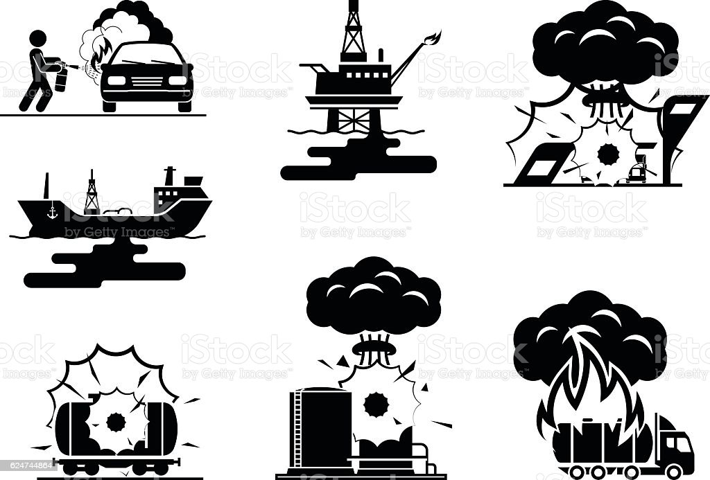 Illustrations presenting accidents in oil industry vector art illustration