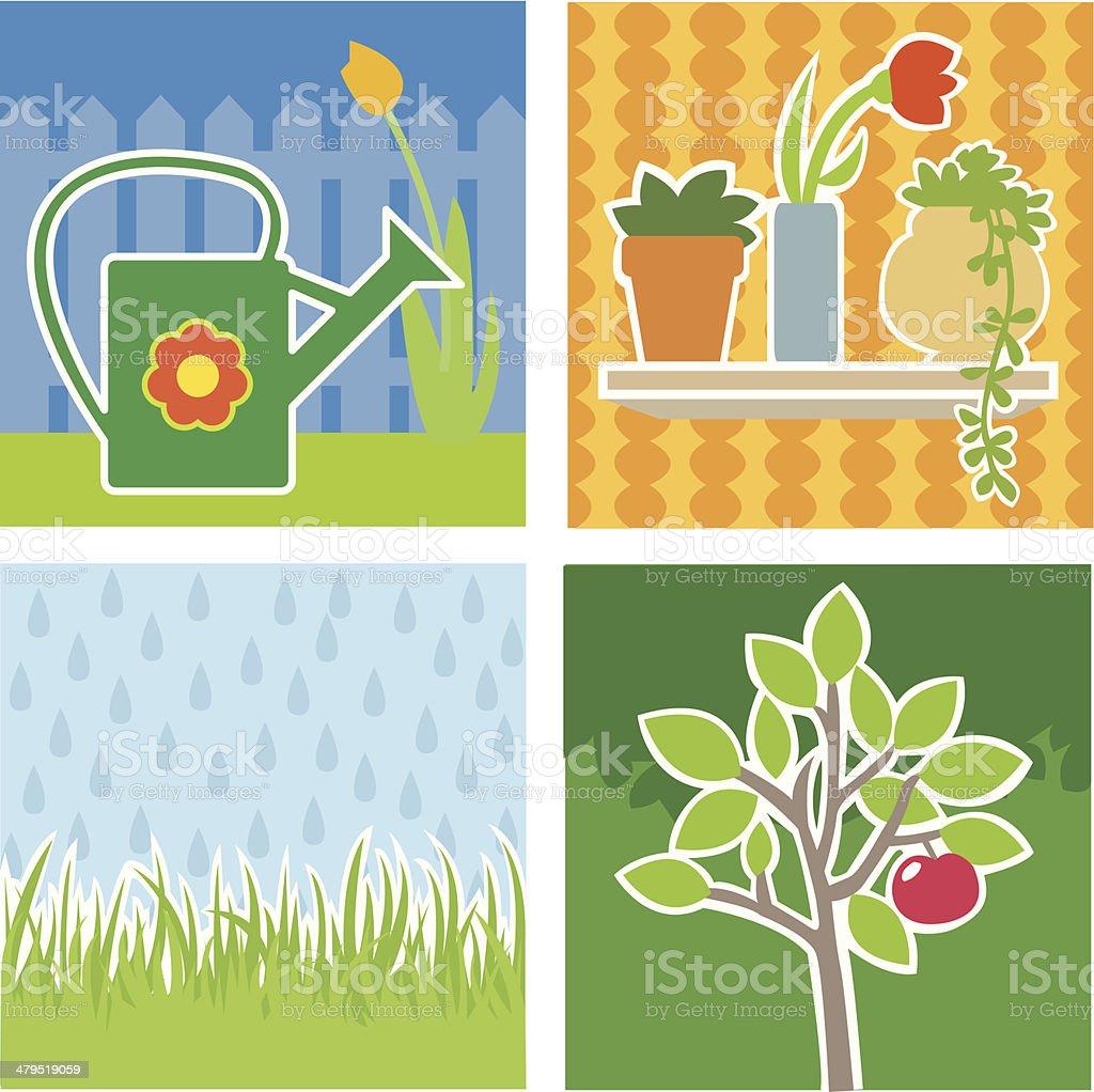 Illustrations theme - gardening royalty-free stock vector art