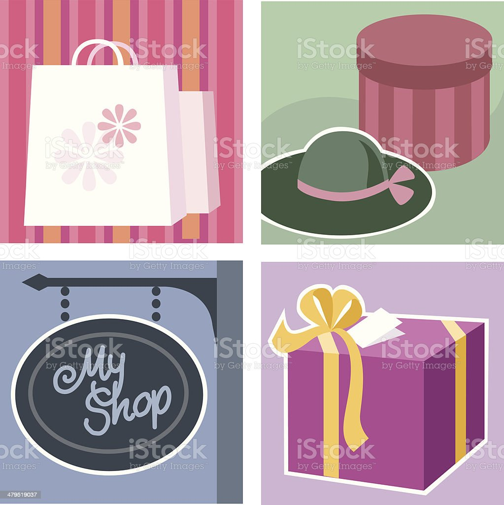 Illustrations theme - shopping royalty-free stock vector art