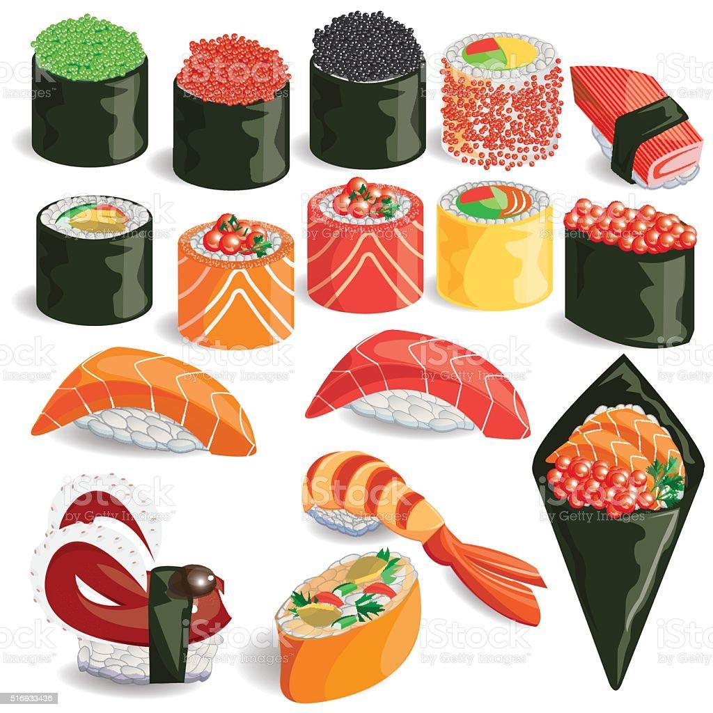 illustration,sushi colorful vector art illustration