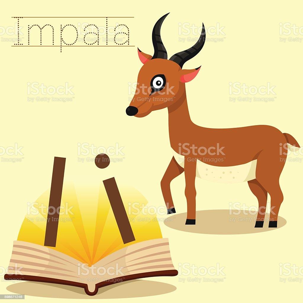 Illustrator of I for Impala vocabulary vector art illustration