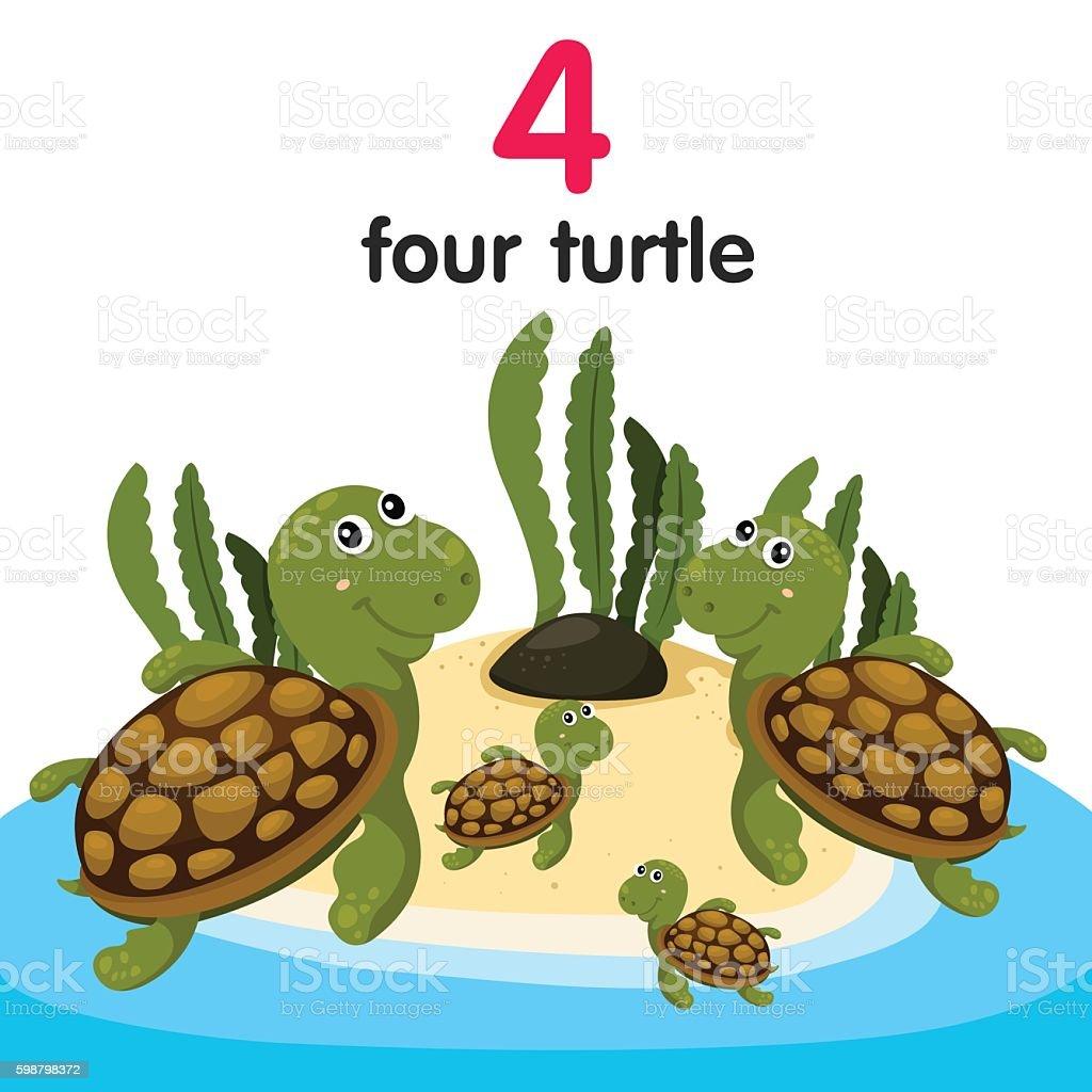 Illustrator of number four turtle vector art illustration