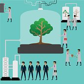Illustrator,human come for natural oxygen from tree in lab