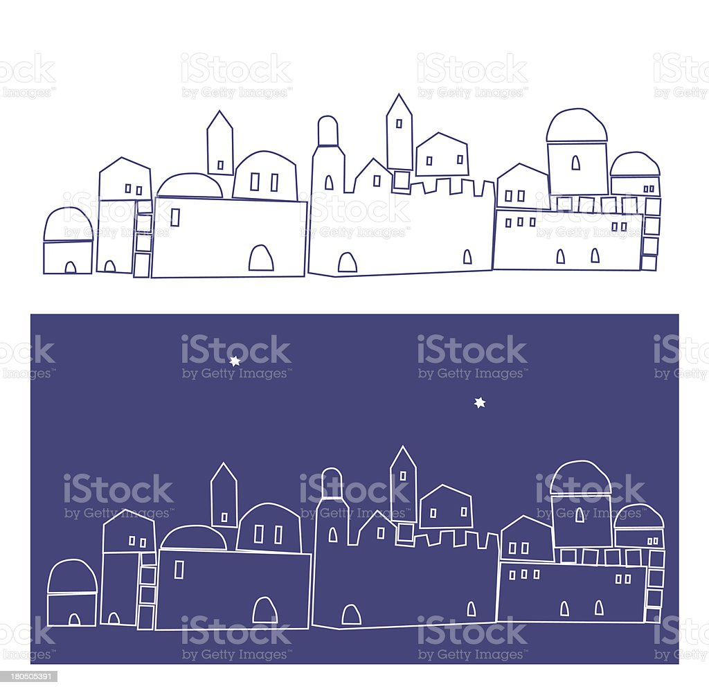 Ilustration of Jerusalem, Silhouette , Old City royalty-free stock vector art