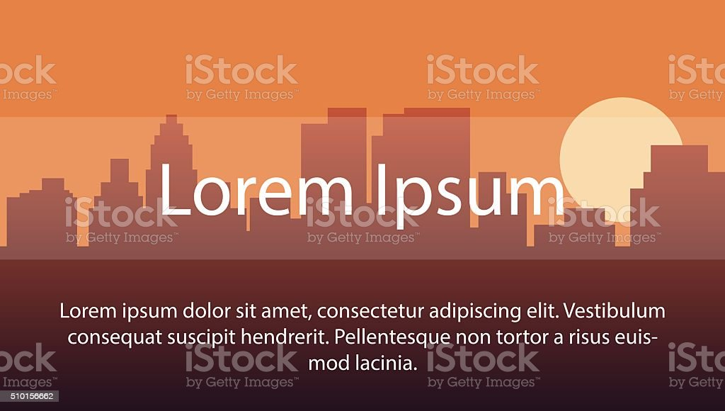 image background with silhouette city during sunset vector art illustration