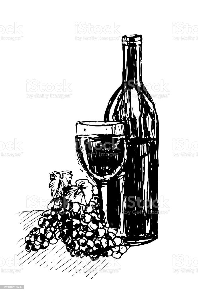 image bottle of red wine vector illustration vector art illustration
