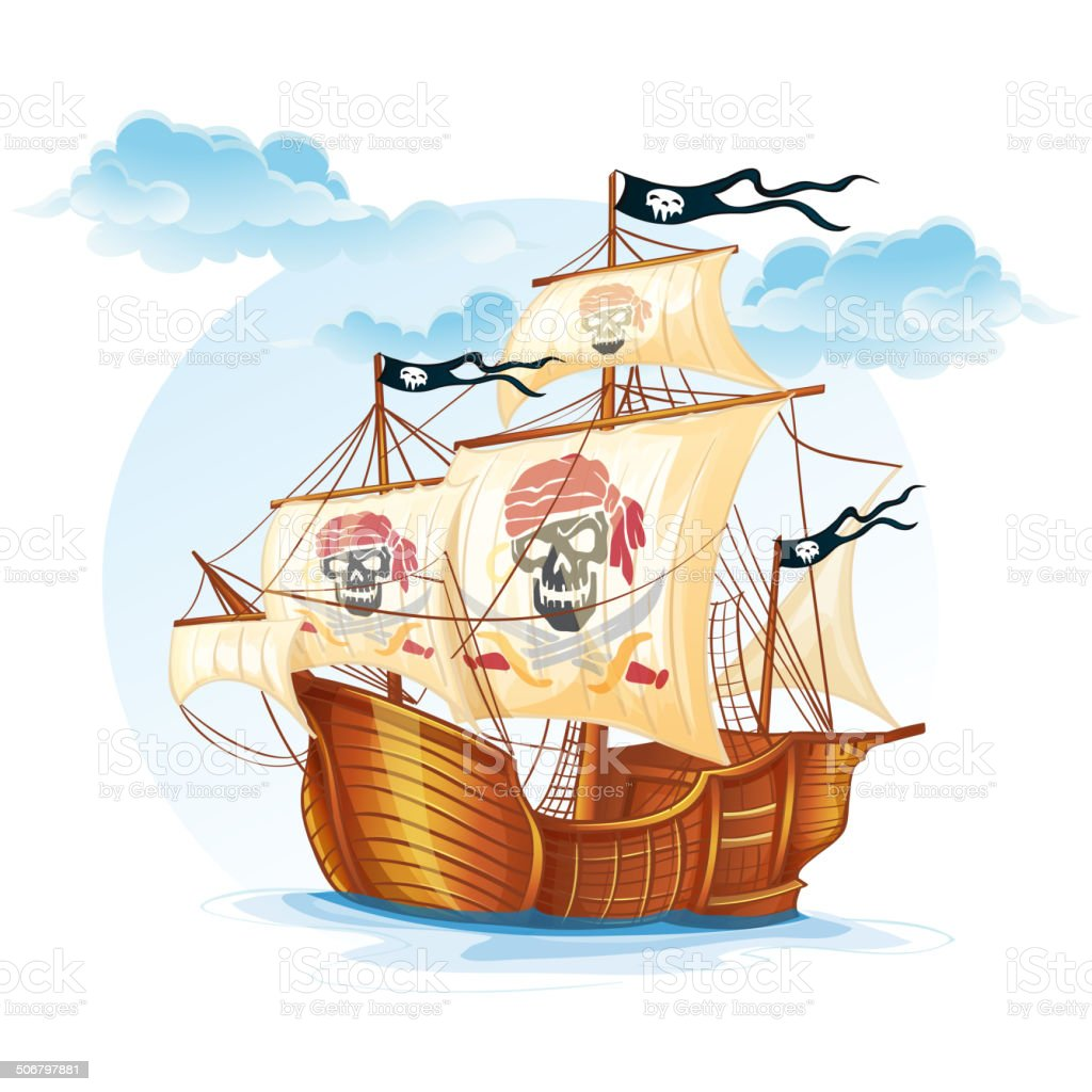 Image caravel ship pirates. XV century vector art illustration
