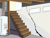 Image of a basement water tank and cracked foundation
