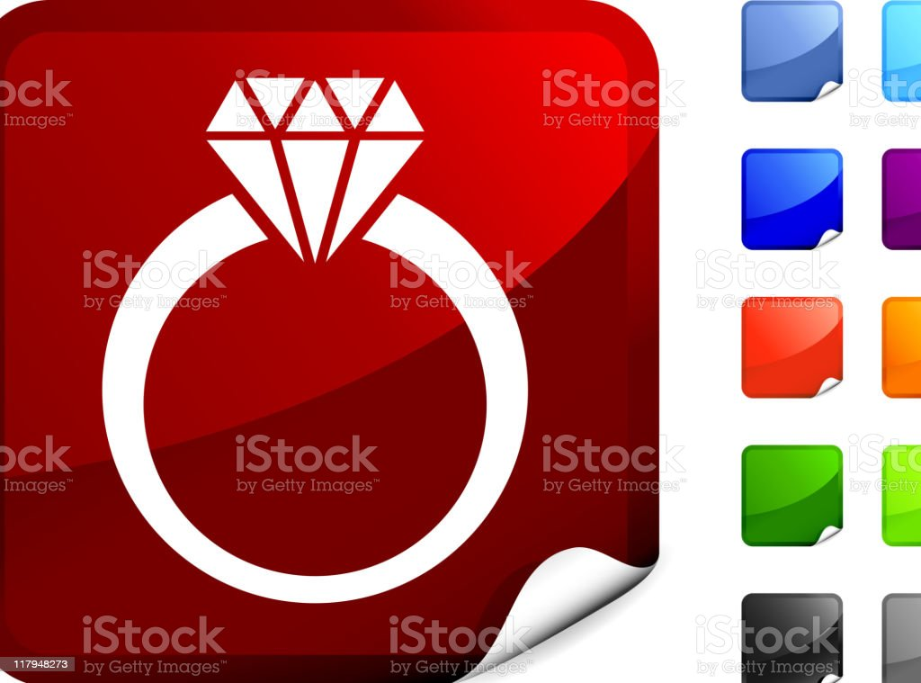 Image of a diamond ring on red sticker royalty-free stock vector art