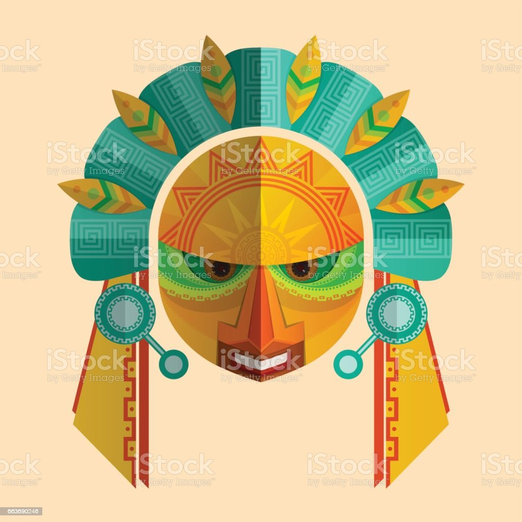 Image of a mask of the Mayans with ethnic ornament. vector art illustration