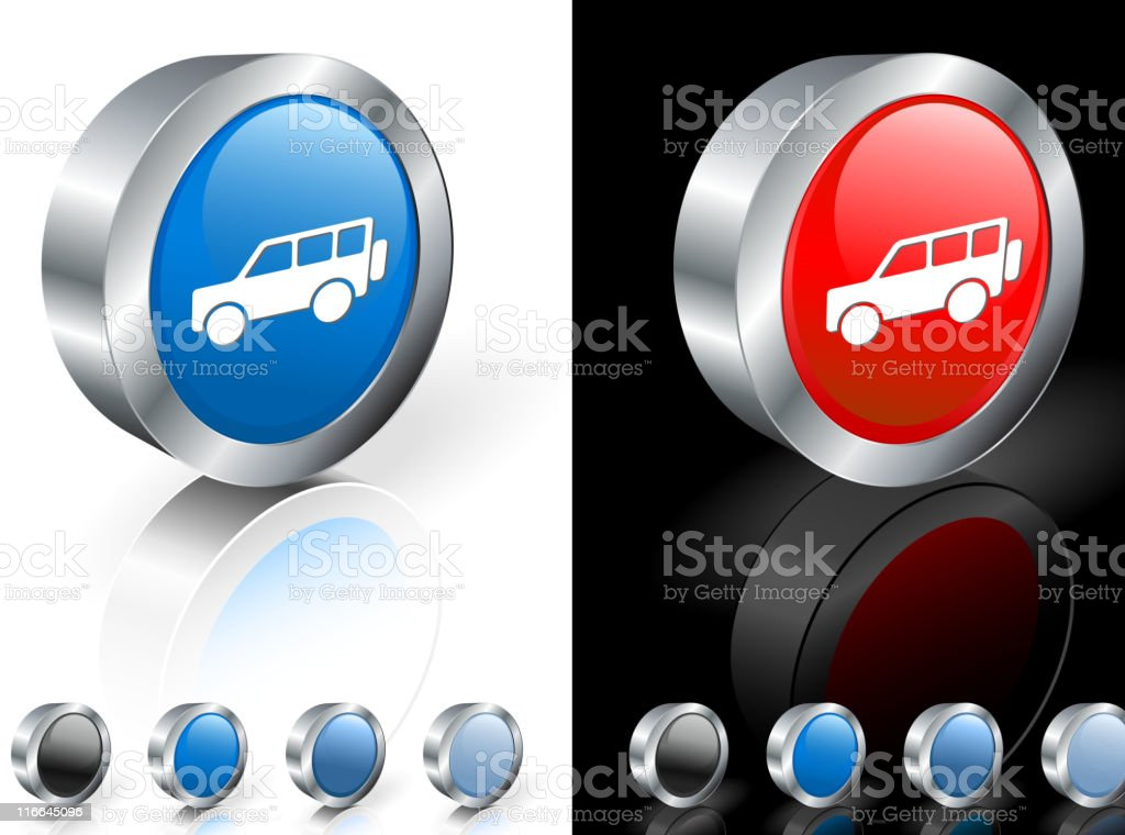 Image of A pickup truck in 3D icon with color options royalty-free stock vector art