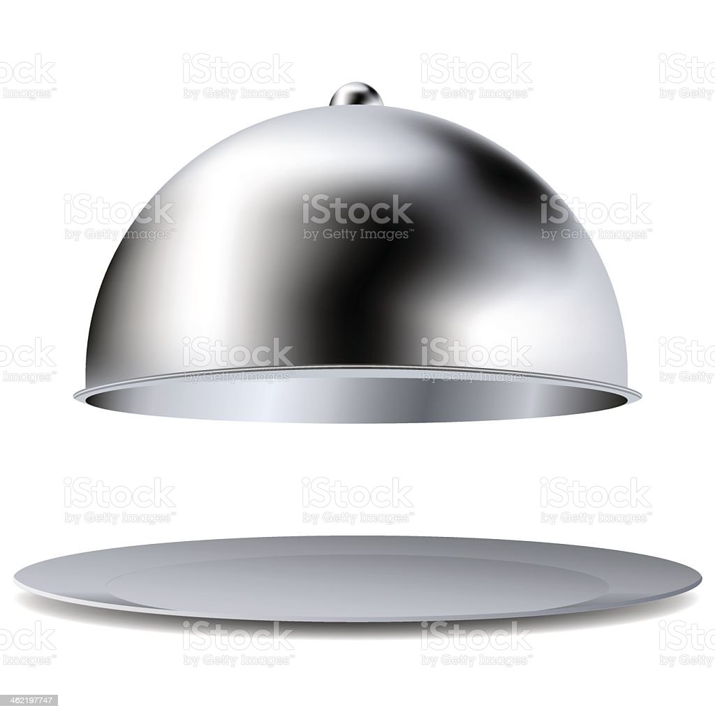 Image of a steel tray and cover on white background vector art illustration