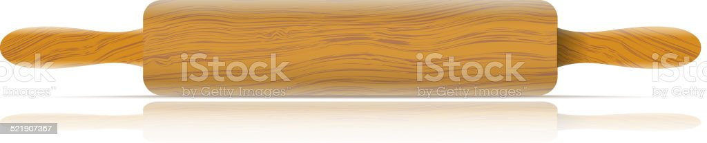 Image of a traditional rolling pin with reflection vector art illustration
