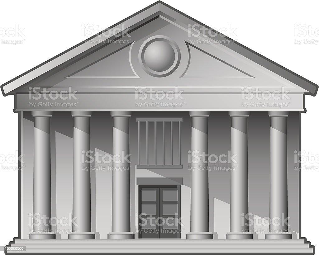 3D image of a white bank facade royalty-free stock vector art