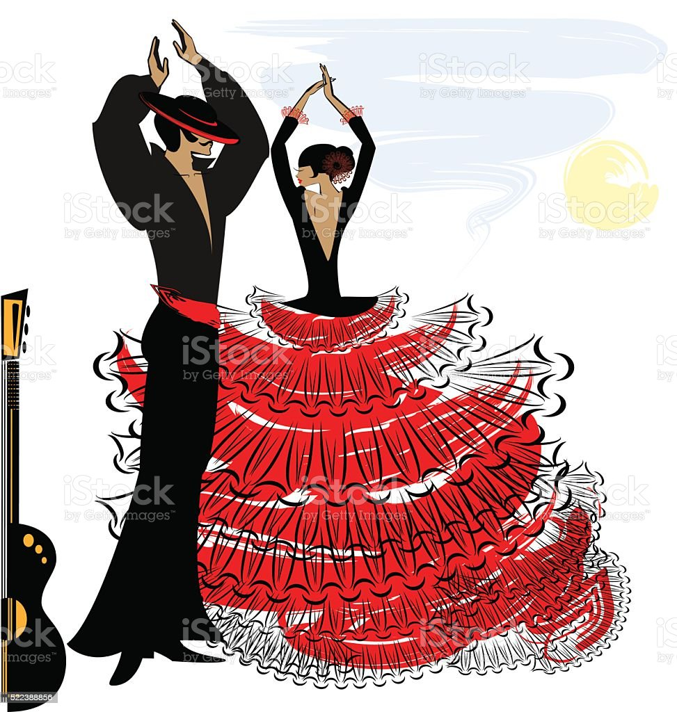 image of abstract flamenco couple vector art illustration